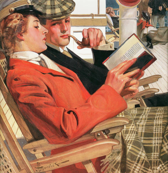 Wall Art - Painting - Two On The Deck Chair - Digital Remastered Edition by Joseph Christian Leyendecker