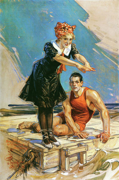 Raft Wall Art - Painting - Two On The Raft - Digital Remastered Edition by Joseph Christian Leyendecker