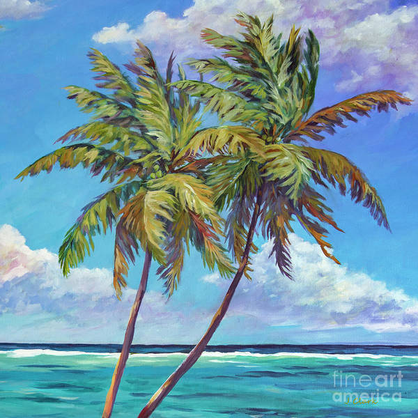 Wall Art - Painting - Two Palms And Sea Square by John Clark
