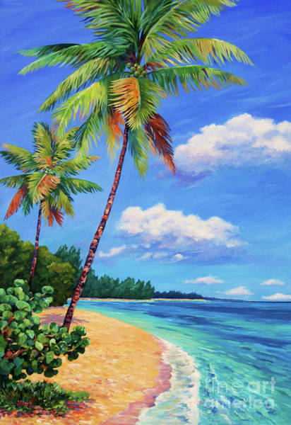Bahamas Painting - Two Palms In Paradise by John Clark