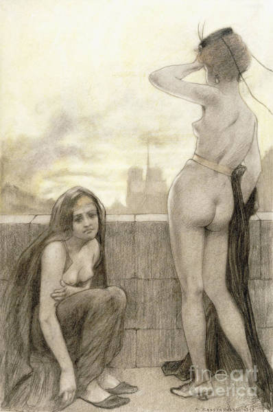 Wall Art - Drawing - Two Partially Clad Women By A Wall In A City by Armand Rassenfosse