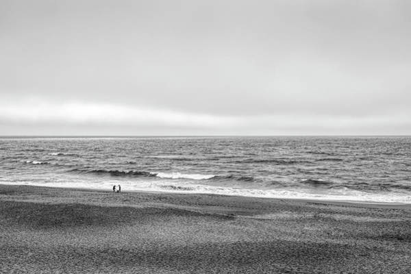 Wall Art - Photograph - Two People And Dog On Beach At Point by Panoramic Images