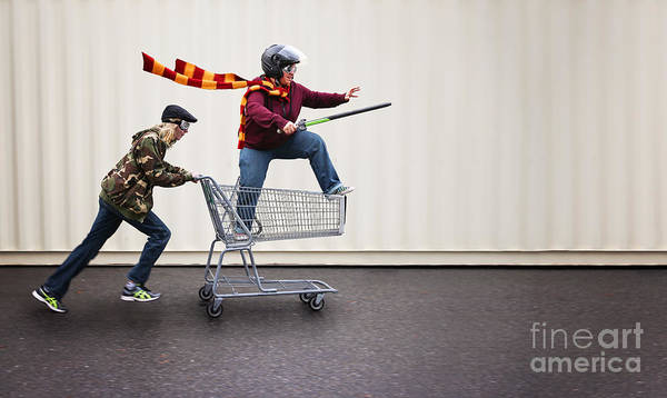 Charge Photograph - Two People Dressed Up As Super Heroes by Annette Shaff