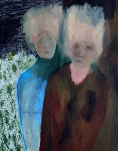 Painting - Two People In A Park by Artist Dot