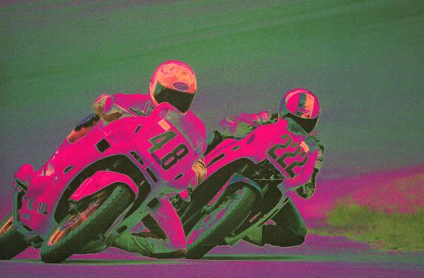 Crash Helmet Photograph - Two People Racing Motorcycles by Harold Wilion
