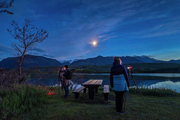 Photograph - Two Photographers In The Evening by Alan Dyer
