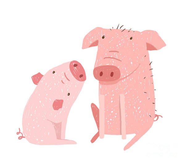 Wall Art - Digital Art - Two Pigs Parent And Child Cartoon. Two by Popmarleo