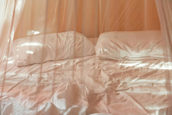 Quintana Roo Photograph - Two Pillows And Empty Bed With Netting by Sasha Weleber