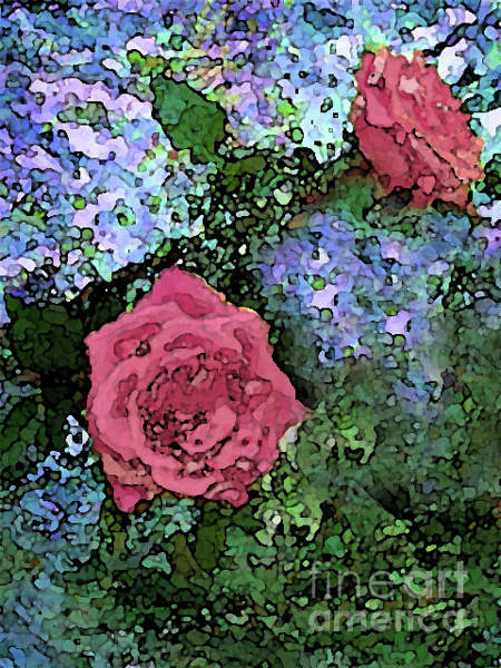 Mixed Media - Two Pink Roses On Blues by Corinne Carroll