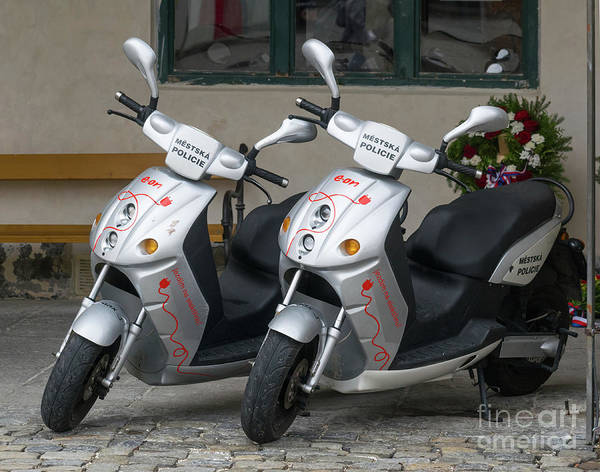Photograph - Two Police Scooters by Les Palenik