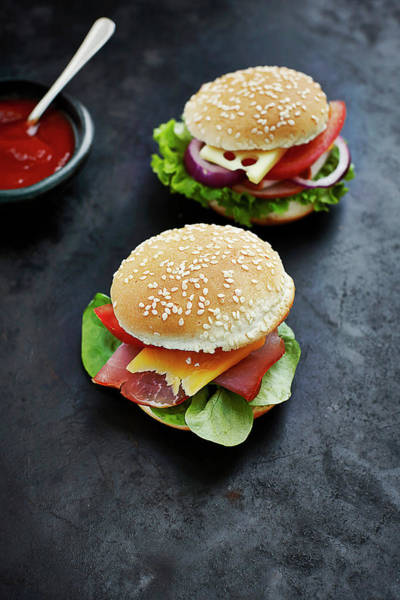 Buns Photograph - Two Prepared Burgers, Mustard And by Westend61