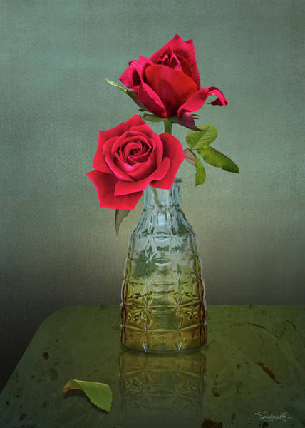 Wall Art - Digital Art - Two Red Roses by M Spadecaller