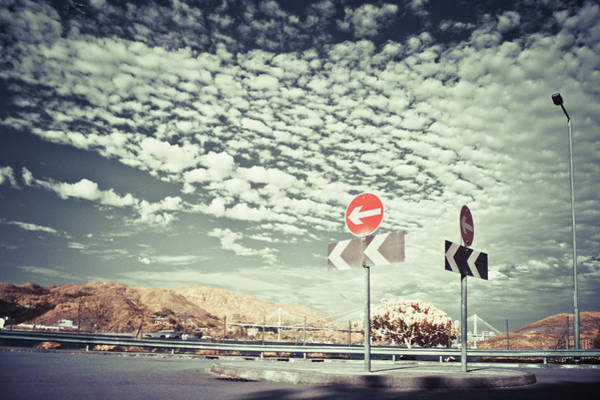 Placard Photograph - Two Road Signs Pointing Driving by D3sign