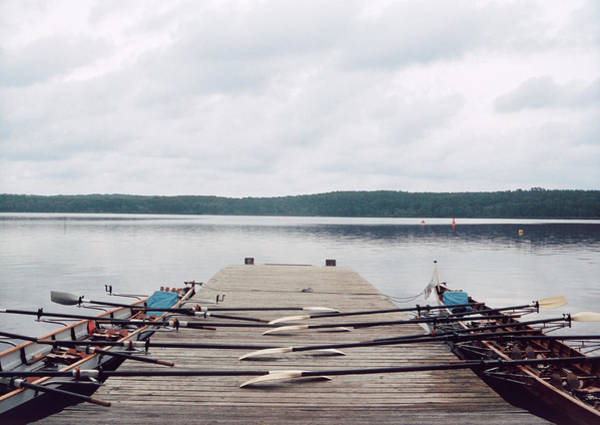 Oar Photograph - Two Row Boats At A Dock by Falk Hermann