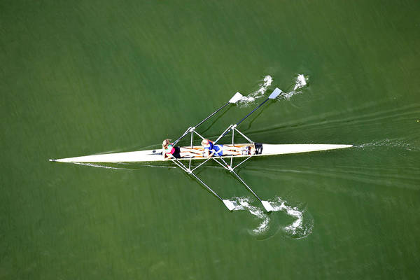 Parallels Wall Art - Photograph - Two Rowers by Jochen Tack