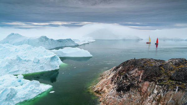 Photograph - Two Sailboats And A Glacier by Michael Blanchette