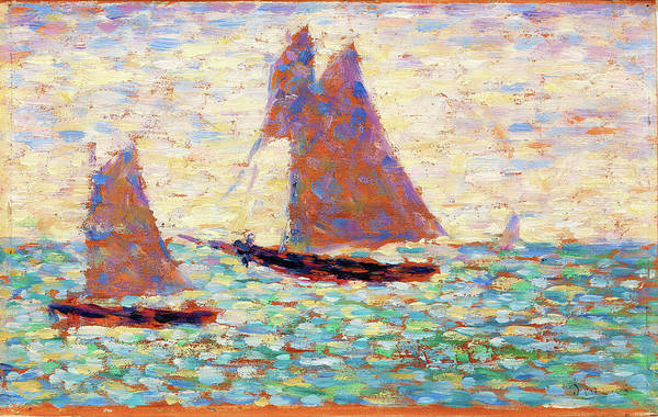 Wall Art - Painting - Two Sailboats At Grandcamp - Digital Remastered Edition by Georges Seurat
