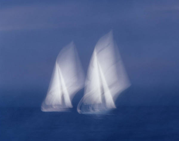 Sailboat Photograph - Two Sailboats In Sea, Blurred Motion by Harald Sund