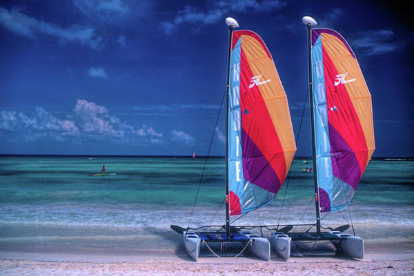 Mayan Wall Art - Photograph - Two Sailboats On Beach by David Smith