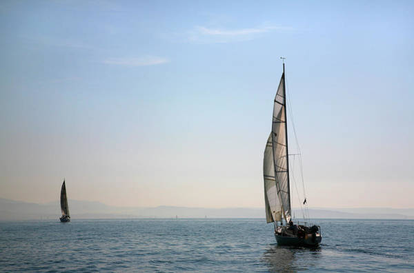 Friuli Photograph - Two Sailing Boats On Adriatic Sea Along by Max Paoli