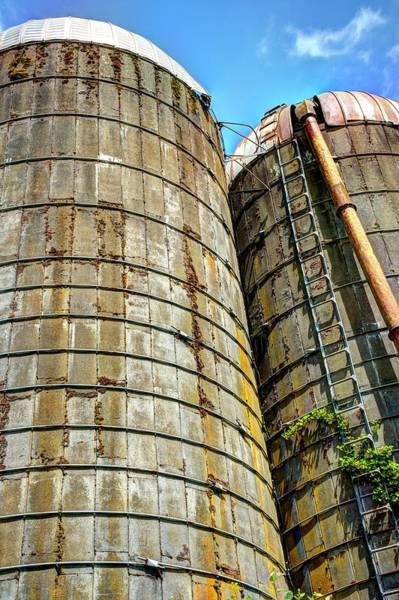 Photograph - Two Silos Blue Sky by Jerry Sodorff