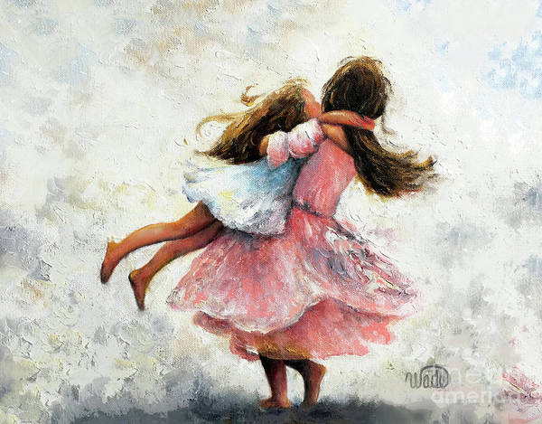 Wall Art - Painting - Two Sisters Twirling Pink by Vickie Wade