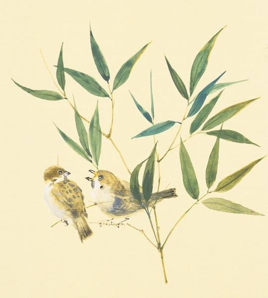 Bamboo Digital Art - Two Sparrows And Bamboo Leaves by Daj