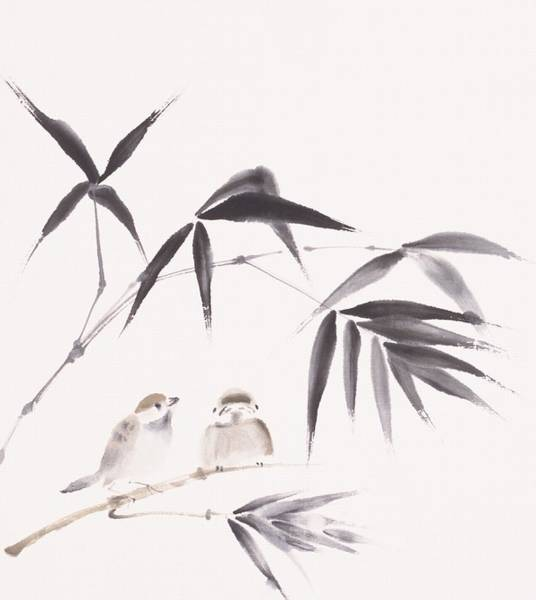 Beauty Of Nature Digital Art - Two Sparrows Perching On Branch Of by Daj
