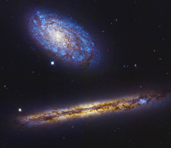 Photograph - Two Spiral Galaxies Meeting by Paul W Faust - Impressions of Light