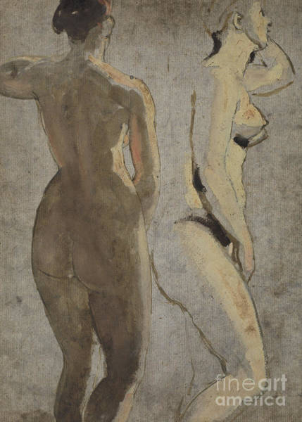 Wall Art - Painting - Two Standing Female Nudes, Verso by William Etty