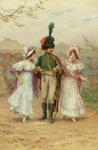Flirtatious Painting - Two Strings To His Bow And The Fete At St Cloud by Frederik Hendrik Kaemmerer