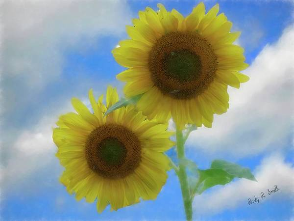 Digital Art - Two Sunflowers. by Rusty R Smith