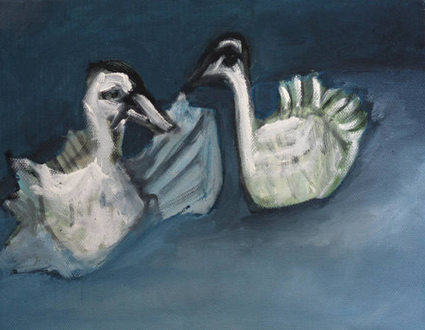 Painting - Two Swans by Artist Dot