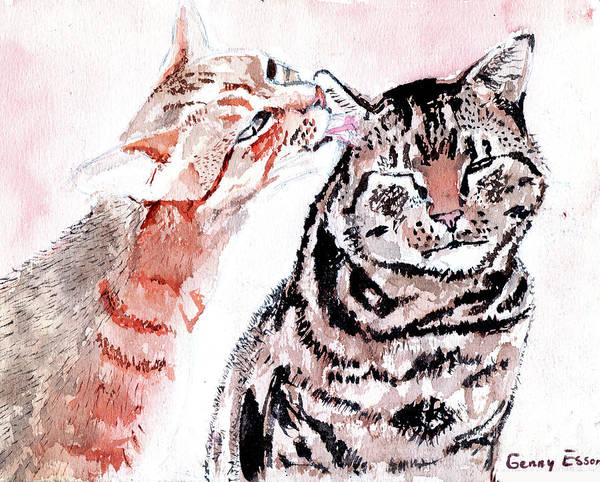 Wall Art - Painting - Two Tabbies by Genevieve Esson