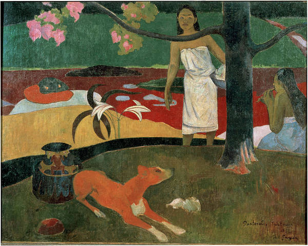 Painting - Two Tahitian Women And A Dog Tahitian by Leemage