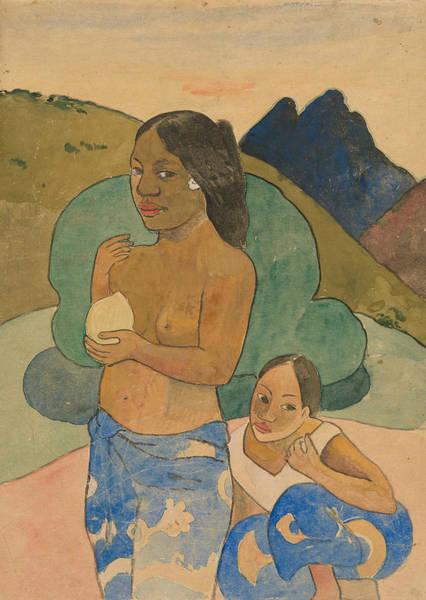 Wall Art - Relief - Two Tahitian Women In A Landscape by Paul Gauguin