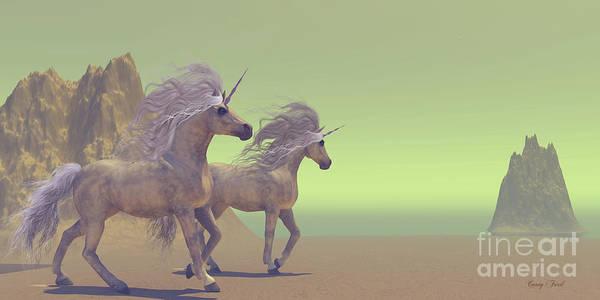 Unicorn Horn Digital Art - Two Unicorns by Corey Ford