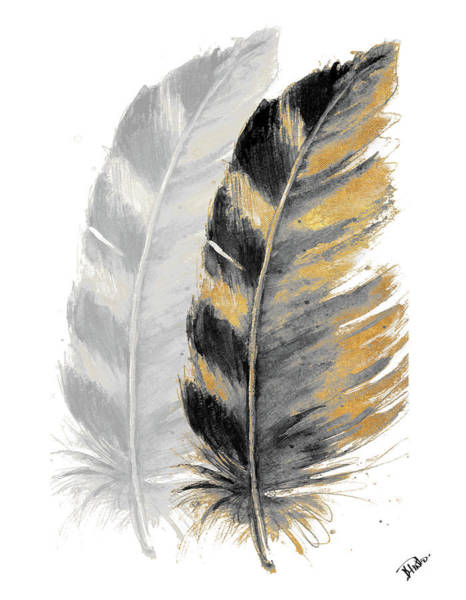 Wall Art - Painting - Two Watercolor Feathers by Patricia Pinto