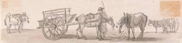 Wall Art - Painting - Two Wheeled Tip Cart With Horses  by Paul Sandby