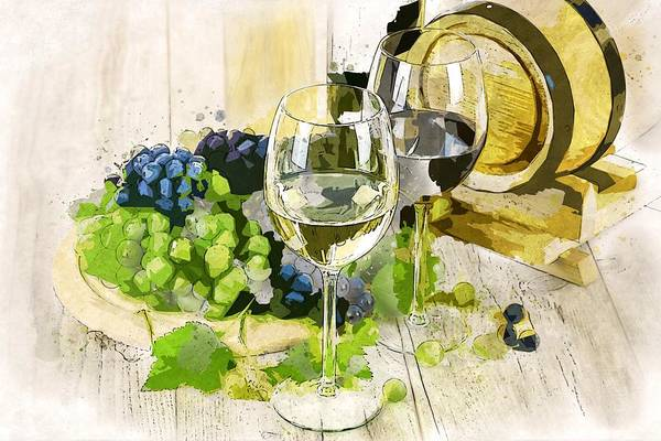 Wall Art - Painting - Two Wine Glass 2 by ArtMarketJapan