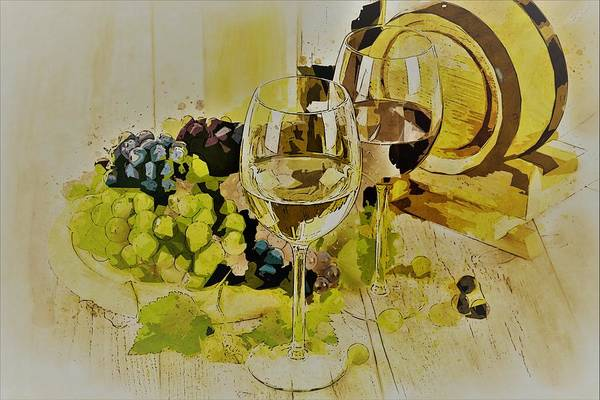 Wall Art - Painting - Two Wine Glass by ArtMarketJapan