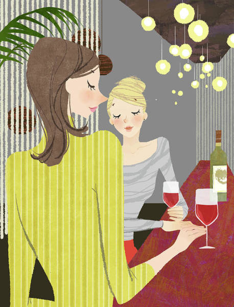 Two Woman With Wine At Bar Counter Art Print