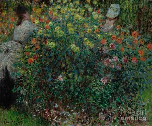 Wall Art - Painting - Two Women Among The Flowers, 1875 by Claude Monet