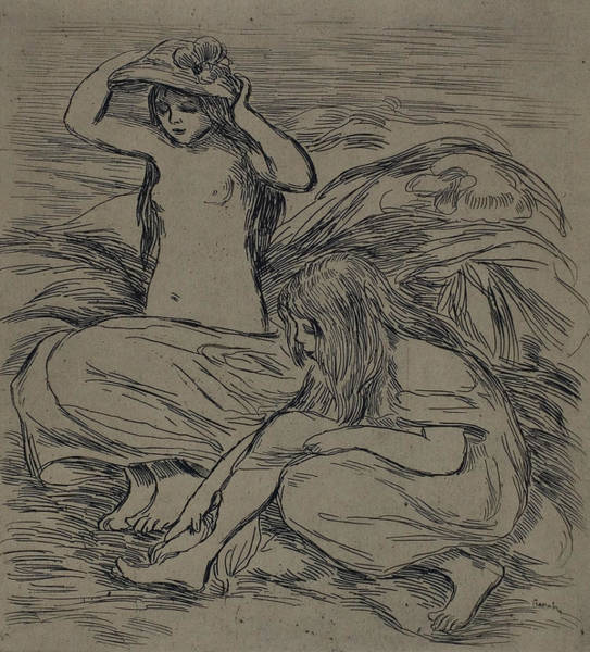 Drawing - Two Women Bathing by Auguste Renoir