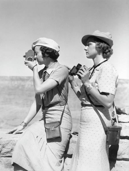 Binoculars Photograph - Two Women Both Are Wearing Hats & Light by H. Armstrong Roberts
