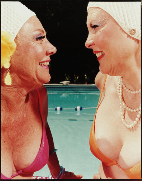 Photograph - Two Women By Pool by Silvia Otte
