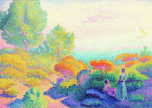 Wall Art - Painting - Two Women By The Shore, Mediterranean - Digital Remastered Edition by Henri Edmond Cross