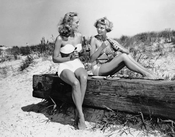 Adult Beverage Photograph - Two Women Drinking Soda On Beach by George Marks