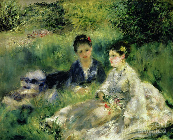 Wall Art - Painting - Two Women In The Park, 1875 by Pierre Auguste Renoir