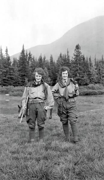 Painting - Two Women On A Trek With Rifles And Cartridge Belts, Ca. 1920 by Celestial Images